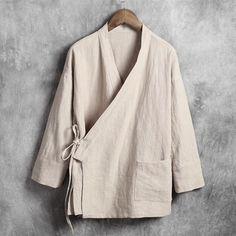 Item Type: ShirtsGender: MenCollar: CollarlessMaterial: Linen,CottonSleeve Length(cm): FullPattern Type: SolidBrand Name: dresslliyShirts Type: Casual ShirtsClosure Type: BeltStyle: VintageFabric Type: PoplinSleeve Style: Regular Col Mandarin, Mandarin Collar, Casual Shirts For Men, Men Casual, Linen Shirts For Men, Chinese Shirt, Chinese Collar Shirt, Style Chinois, Mode Kimono