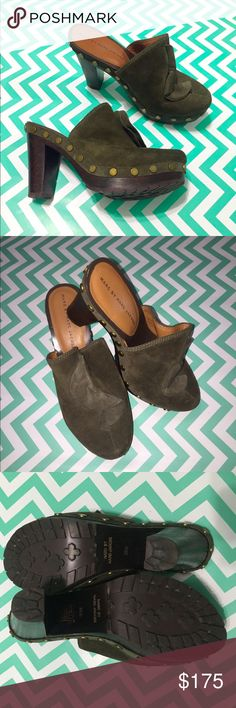 Marc by Marc Jacobs Suede Clogs Beautiful one time used studded platform clogs. Perfect to wear with jeans. A very trendy army green color. Make me an offer. Authentic. Marc by Marc Jacobs Shoes Mules & Clogs