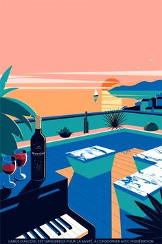 """Cannes all our good addresses during the Festival - The visual of the """"aperitif sunset"""" at the Mouton Cadet Wine Bar - Illustration Design Graphique, Travel Illustration, Retro Illustration, Mouton Cadet, Wall Art Prints, Poster Prints, Guache, Grafik Design, Aesthetic Art"""