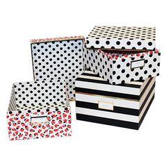 Kate Spade Black Stripe Nesting Boxes, set of 3 in black stripe, floral and black polka dot
