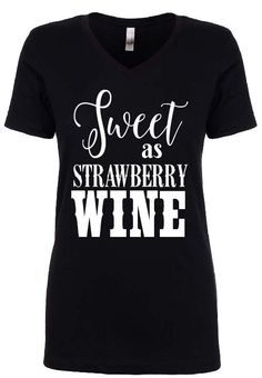 Sweet as Strawberry Wine Jr. Fit V-Neck Tee by CottageDorr on Etsy