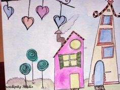 Whimsical Watercolor houses with Rubbermoon Stamps