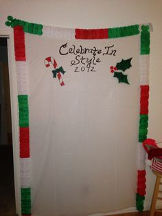 """Xmas ugly sweater party backdrop for DIY photo shoot   Needing ideas for a FUN Ugly Christmas Sweater Party check out """"The How to Party In An Ugly Christmas Sweater"""" at Amazon.com"""