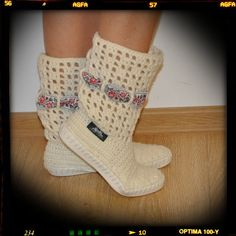 100% handmade crochet outdoor boots  Hand crocheted boots for street- mark Uki-Crafts Handmade in Romania Recommended season: Spring-Fall Materials