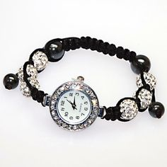 Handmade Braided Pave Crystal Ball Charm Bracelets for Women Gift Wholesale Stylish Watches, Luxury Watches For Men, Macrame Jewelry, Jewelry Bracelets, Beaded Watches, Watch Brands, Paracord, Fashion Watches, Gifts For Women