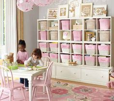 Another playroom idea (I like the idea of the cube case on top of drawers)