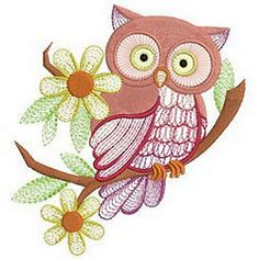 Have a hoot with Cute Owls perched on branches in fun pastel colors from Ace Points Embroidery.