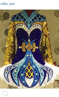 Cute Blue Celtic Star Irish Dance Dress Solo Costume For Sale