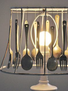 Silverware lampshade.... very creative!