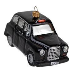 London black cab / taxi hand made glass Christmas tree bauble Black Cab, Christmas Tree Baubles, Taxi, London, British, Handmade, Link, Image, Hand Made