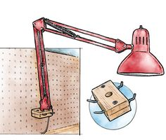 Mounting a workshop light on pegboard