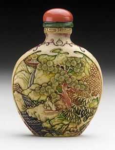 Snuff Bottle (Biyanhu) with Landscape Reserves, China, early 20th century, Carved ivory with polychrome tinted decoration, carved bone stopper