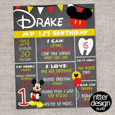 Mickey Mouse Birthday Chalkboard Sign - Digital File Only