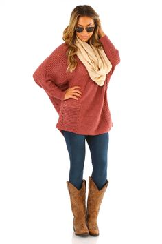 Changed My Mind Sweater: Brick Red #shophopes