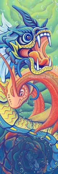 Dragon Dance by ~Noktowl on deviantART (Chinese-style Gyarados and Magikarp)