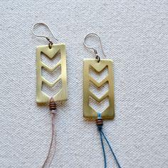 hand-cut brass earrings