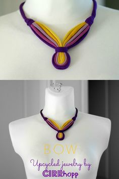 Upcycled BOW fiber necklace/Purple-mustard/Recycled/Handmade colorful/Repurposed material/Soft/Eco friendly/Jersey stripes