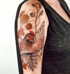 Baby Tattoos, Flower Tattoos, Body Art Tattoos, Girl Tattoos, Sleeve Tattoos, Tatoos, Huhn Tattoo, Pomegranate Tattoo, Chicken Tattoo