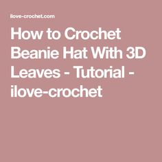 How to Crochet Beanie Hat With 3D Leaves - Tutorial - ilove-crochet
