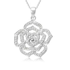 $19.99 - 1/8 Carat Diamond and Sterling Silver Rose Pendant