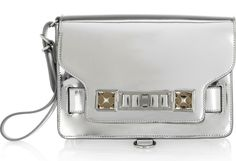PS11 mirrored leather wristlet clutch