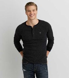 Shop casual Men's T Shirts at American Eagle. Find crew neck t shirts, henley t shirts, graphic tees, v neck t shirts, drop shoulder t shirts & more in new colors and styles. American Eagle Men, Long Sleeve Henley, Mens Outfitters, Mens Clothing Styles, Lounge Wear, American Eagle Outfitters, Fashion Outfits, Men's Fashion, Aeo