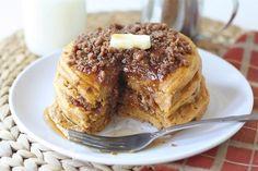 Pumpkin Cinnamon Streusel Pancake Recipe on twopeasandtheirpod.com The BEST pumpkin pancakes! #recipe