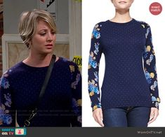 Penny's blue floral and dot print sweater on The Big Bang Theory. Outfit Details: http://wornontv.net/48287/ #TheBigBangTheory