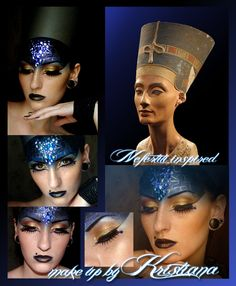 Egyptian Nefertiti inspired make-up look with crystal accents.