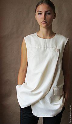 Кофты и свитера ручной работы. Блуза, итальянский хлопок. FORA. Интернет-магазин Ярмарка Мастеров. Блузка, блуза, белая туника