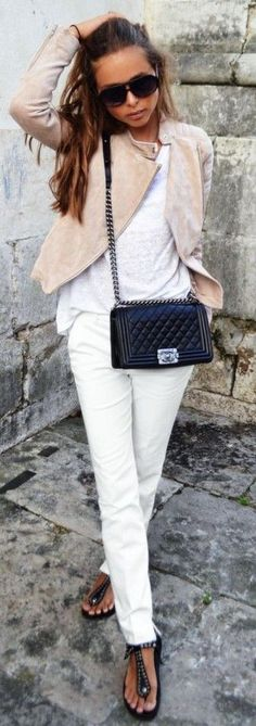 #spring #fashion #stylish #outfitideas  Nude suede biker jacket + all white + black accessories and sandals   Maria Kragmann