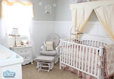 Shelf/drapes may not be wise over a crib, but could be cute over a twin bed to draw eye up.