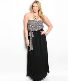 4bb09e36bb708 Sexy Strapless Black Party Cruise Maxi Dress Taupe Tribal Print Top XL 2X  or 3XL