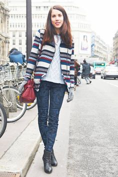 Mix stripes and paisley for the ultimate in print-mixing #streetstyle