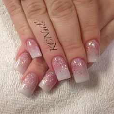 Updated take on the classic Pink and Whites. White and glitter pink fade.  KCNails
