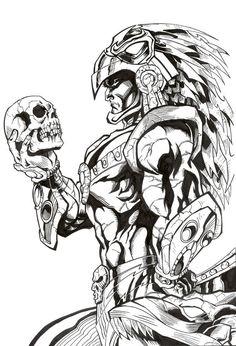 azteca by alfret on DeviantArt Aztec Warrior Tattoo, Warrior Tattoos, Tattoo Design Drawings, Art Drawings, Drawing Faces, Tattoo Studio, Mayan Tattoos, 3d Tattoos, Polynesian Tattoos
