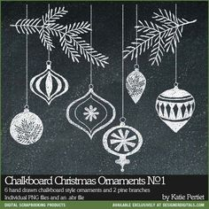 Chalkboard Christmas Ornaments and Days of December Sale at DesignerDigitals