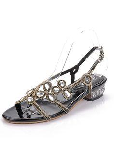 120295ee9c13  AdoreWe  VIPme Sandals - G·Sharrow Open Toe Flat Sandals Diamond Studded  Slingback