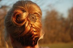 upside down braid | upside down braid with broach ~ created by ... | Hair Styles on a Per ...