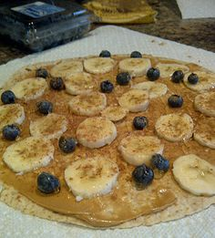 tone it up peanut butter snack wrap - pb, honey, cinnamon, bananas, blueberries!