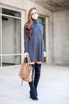 """Being a petite, it's hard to find the perfect dress to style with over-the-knee boots. Can I get an amen, petite ladies? I'm 5'3″ and sometimes I find the OTK boots do sometimes completely """"eat"""" my legs right up — especially when the dress doesn't sit at the perfect length, showing the perfect amount of leg. I …"""
