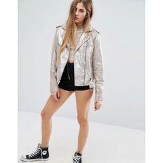 Sparkle Leather Biker Jacket For womens