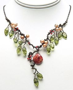 Green and Orange Statement Necklace Autumn by CherylParrottJewelry