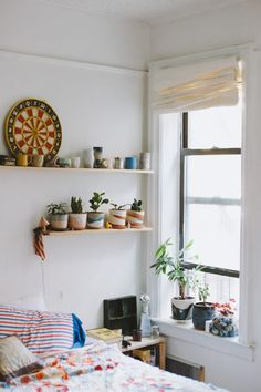出窓的なスペースに盆栽的な鉢がディスプレイされた、縦長の上げ下げ窓の窓際