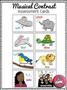Musical Contrast Assessment Cards and Posters for Primary Music Class Lessons #SillyOMusic
