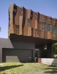 modern house exterior walls with perforated screen made of steel