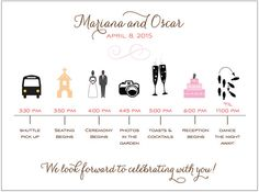 25 Wedding Timeline InsertsTotally Customizable Cards by camispaperie,