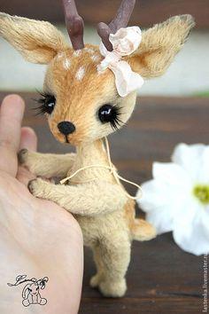 Купить Олененок Faline - коричневый, олень, олененок, рожки, авторская ручная работа, тедди, вискоза