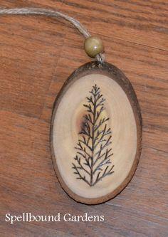 Handmade Rustic Wood Burn Christmas Tree Wood Slice Tree Ornament #Handmade