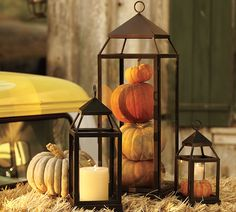 I am obsessed with lanterns, thanks to my sister!! I need to get one of these large lanterns to put on my front porch, then fill it with seasonal items -- pumpkins in fall, ornaments in winter, etc. From Pottery Barn